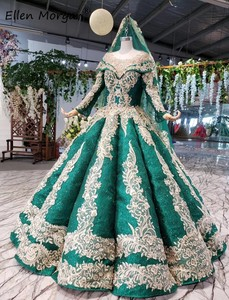 Image 3 - Glitter Dark Green Lange Mouwen Baljurken Trouwjurken Met Sluiers 2020 Puffy Arabisch Moslim Kant Voor Bridal Vrouwen