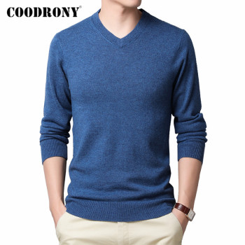 COODRONY Brand Sweater Men Merino Wool Pullover Casual V-Neck Pull Homme 2019 Winter Cashmere Sweaters Jersey Hombre C3003