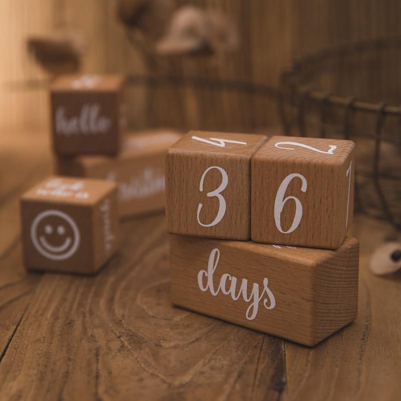 6pcs/1Set Baby Month Milestone Card Beech Block Square Engraved