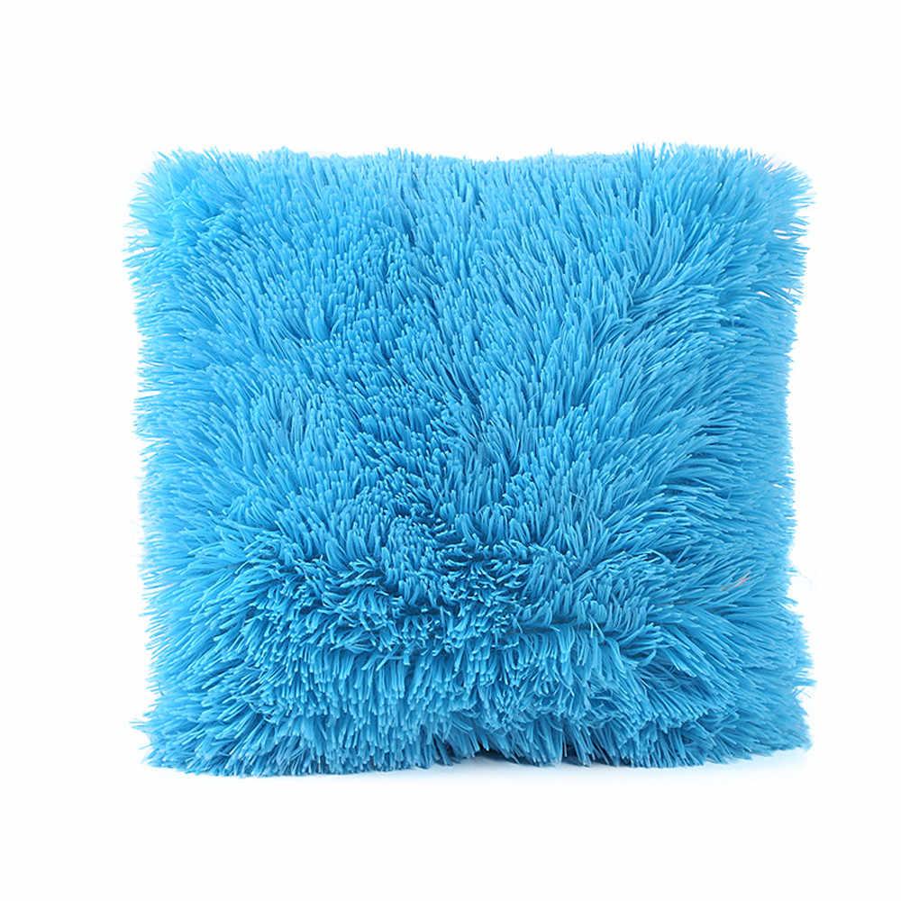 12 kolor pluszowa poduszka pokrywa ciepła miękka i wygodna kwadratowa sofa samochód Siesta poszewka akcesoria do dekoracji domu # YL10