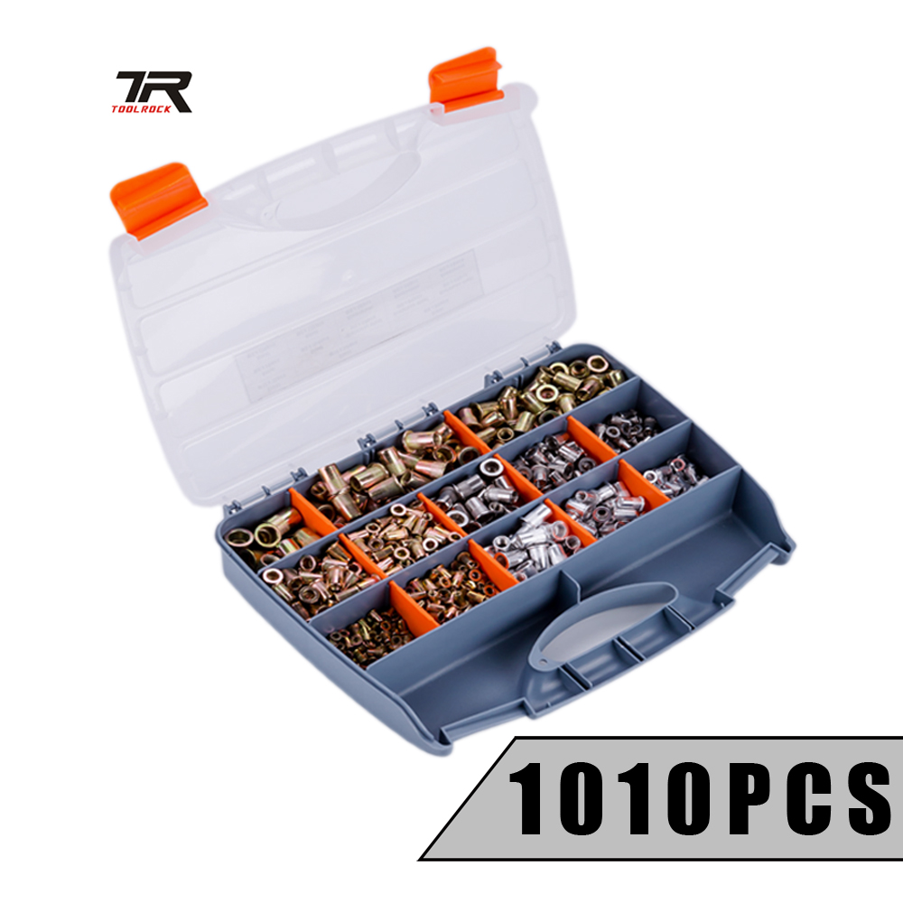 1010pcs Insert Nut M3 M4 M5 M6 M8 M10 M12 Rivet Nut Galvanized Rivet Nuts Stainless Steel Nuts Aluminum Nutsert Tool Kit