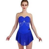 New Professional Ice Skating Dance Dress For Women Adult/Kids Sleeveless Blue Elegant Clothes Ballroom Dance Costumes DQL3293