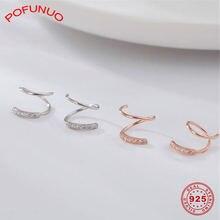 Pofunuo 925 Стерлинговое Серебро спирально витые серьги для