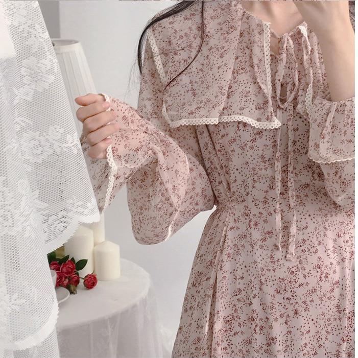 Hfd8512baad5c4c7d97282e2a6cbb0e348 - Autumn Puritan Collar Long Sleeves Chiffon Floral Print Lace-Up Slim Midi Dress