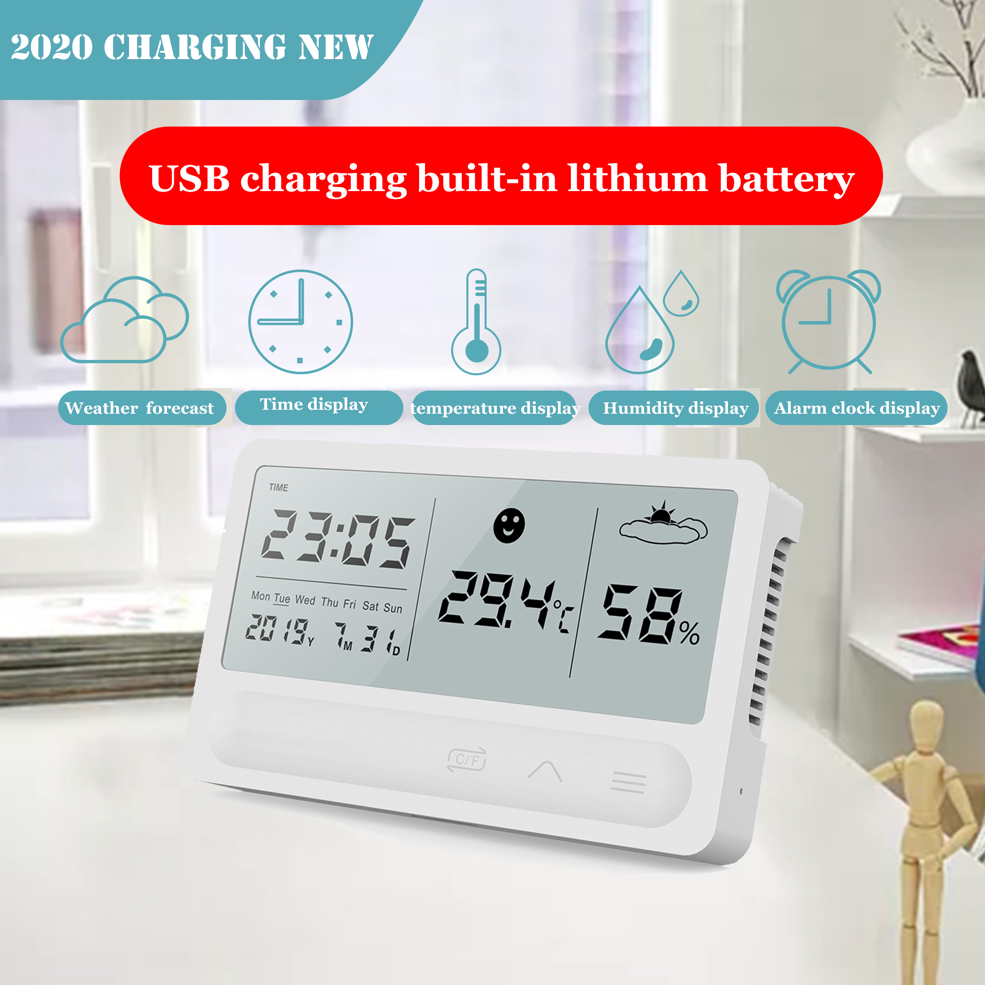 LED Large Screen Electronic Thermometer Indoor Bedside Hygrometer Time Date Alarm Clock Multifunctional Digital Clock