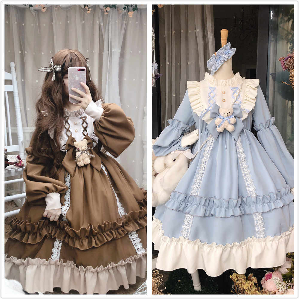 Autumn winter vintage sweet lolita dress palace lace bowknot puff sleeve high waist victorian dress kawaii girl gothic lolita op
