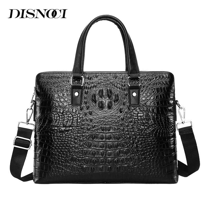 DISNOCI Double Zipper Men's Briefcase Genuine Leather Men Handbag High Capacity Business Laptop Bag Man Shoulder Messenger Bag