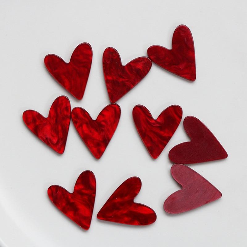 Модные красные Коннекторы в форме сердца из смолы, 10 шт., 25*22 мм, очаровательные серьги «сделай сам», аксессуары для изготовления ювелирных и...