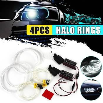 4pcs CCFL Angel Eyes Halo Rings Lights 130mm Xenon LED White Headlight Bulbs Angel Eye for BMW E36 E39 E46 image
