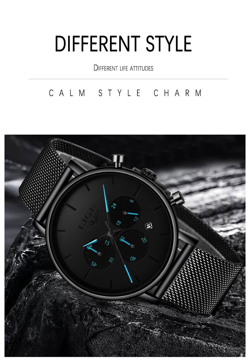 de luxo aço malha cinto relógio masculino