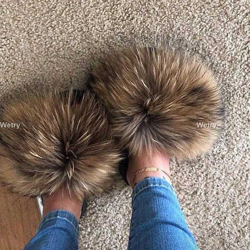 Women's Summer Flat Slippers Genuine Fox Fur Slippers Women's Thick Hair Slippers Non-slip Indoor Slippers Silver Sole