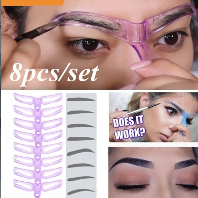8Pcs Replaceable Eyebrow Shaping Template Helper Eyebrow Stencils Kit Grooming Card  Reusable Eyebrow Defining Makeup Tool Mould 2