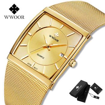WWOOR Top luksusowy złoty zegarek dla mężczyzn plac Ultra cienkie zegarki mężczyźni kwarcowy siatka stalowa zegarek wodoodporny Box Relogio Masculino tanie i dobre opinie 22cm Luxury ru QUARTZ Rohs 3Bar Składane bezpieczne zapięcie CN (pochodzenie) STOP 11mm Hardlex Kwarcowe zegarki Papier
