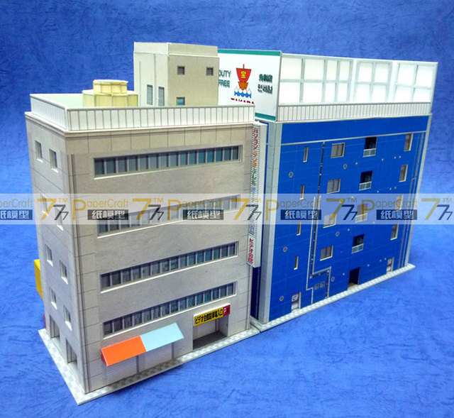 1:150 N-Scale Japanese Architectural Scenes Akihabara Electronics Building Paper Model 4