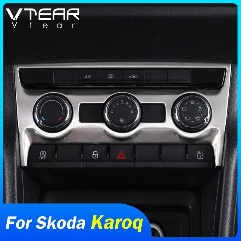 Vtear para Skoda Karoq accesorios coche aire acondicionado Interior CD cubierta de Panel de cuadro de mando Marco embellecedor de decoración molduras Auto 2019