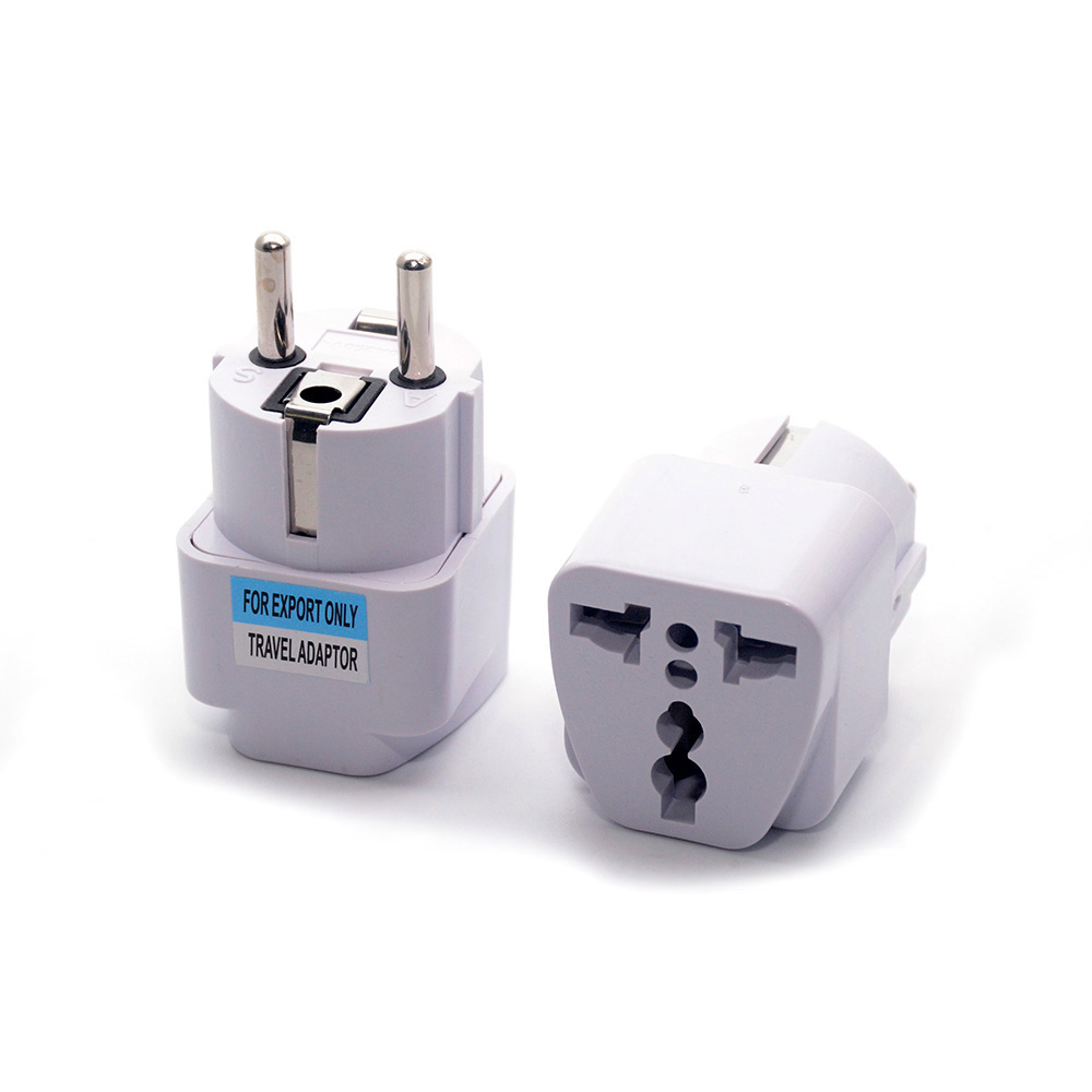 High Quality Universal 2 Pin UK US AU To EU EURO France Germany Korea Travel AC Plug Adapter Adaptor Convert Round Socket image
