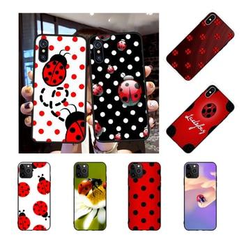 NBDRUICAI de siete estrellas mariquita pintada de negro de goma suave de la cubierta del teléfono para iPhone 11 pro XS MAX 8 7 6 6S Plus X 5S SE XR caso