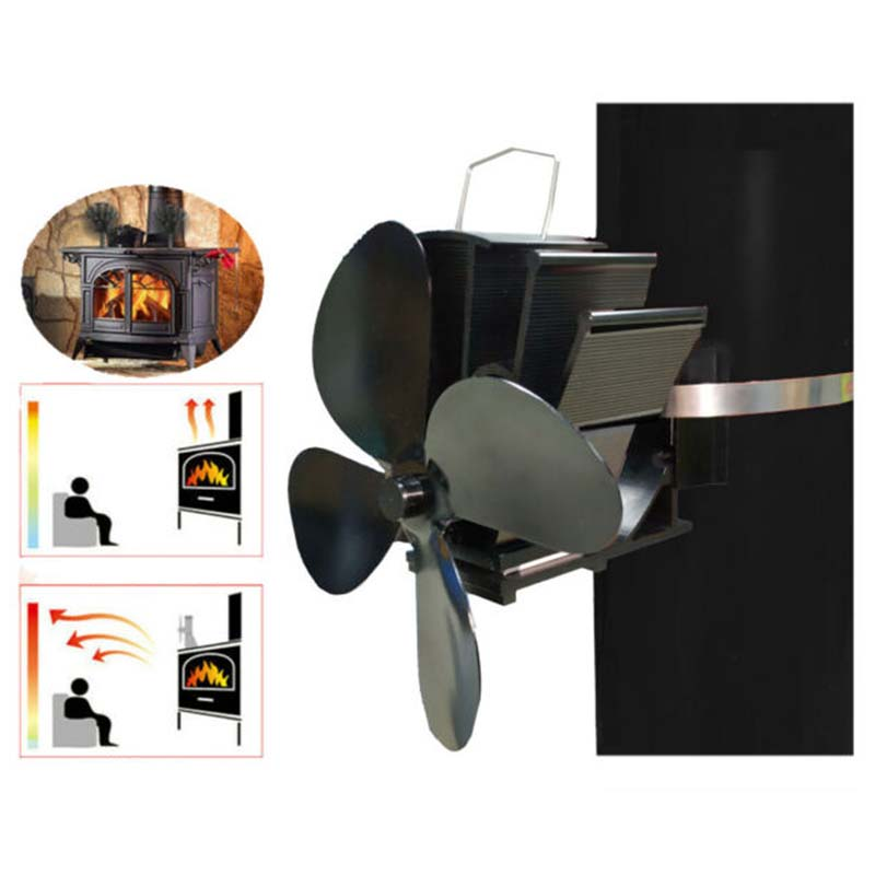 4&5 Blades Fireplace Fan Low Noise Wall Mounted Stove Thermal Heat Elements Hot