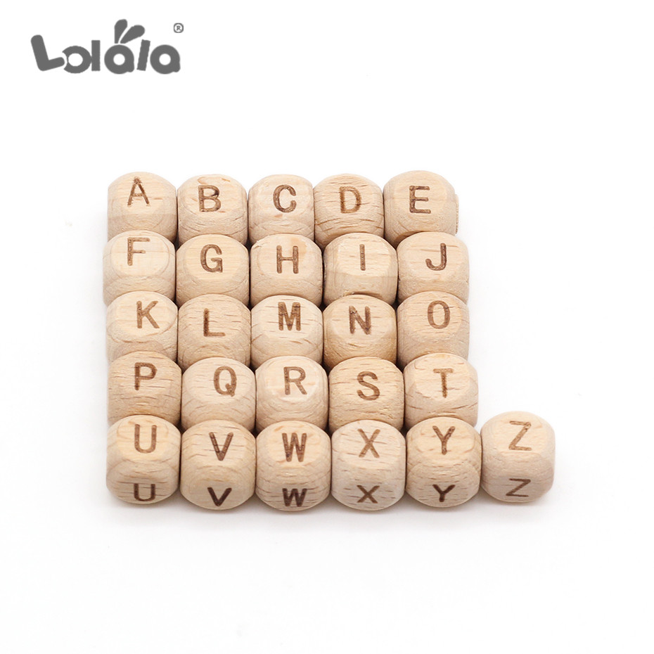 26Pcs Square Alphabet Beads Natural Beech Wooden Letter Beads For Jewelry Toys Making DIY Accessories Baby Necklace 7MM