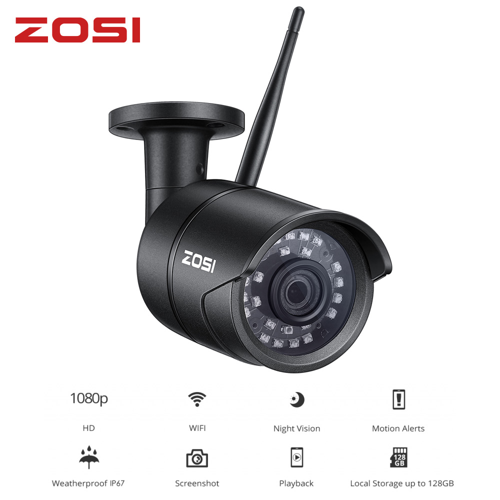 ZOSI 2MP 1080P Led Wireless IP Camera Waterproof Smartphone Remote Control CCTV Nightvision Video Bullet Infared Monitor
