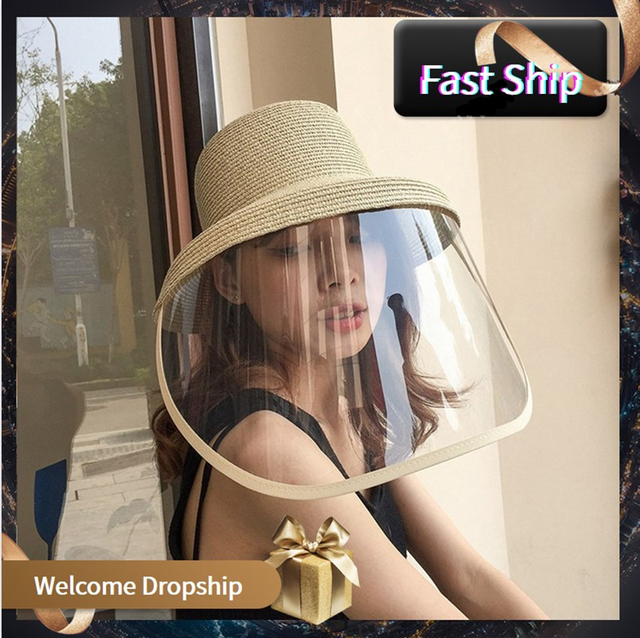 Beach Straw Bucket Hats Women Visually Face Shield Cap Wide Brim Summer Anti Droplet Panama Hat Casual Travel Cap Eye Protection