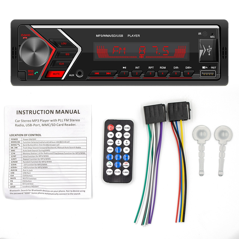 Universal Car Radio Bluetooth MP3 Player AUX Classic Cars Stereo Head Unit with Remote SWM-505