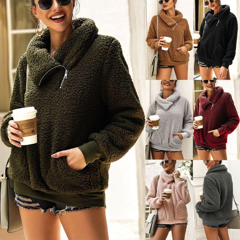 Women Winter Autumn Zipper Fannel Neck Long Sleeve Sweatshirts Hoodies Pockets Fleece Sherpa Pullover Coat Outwear