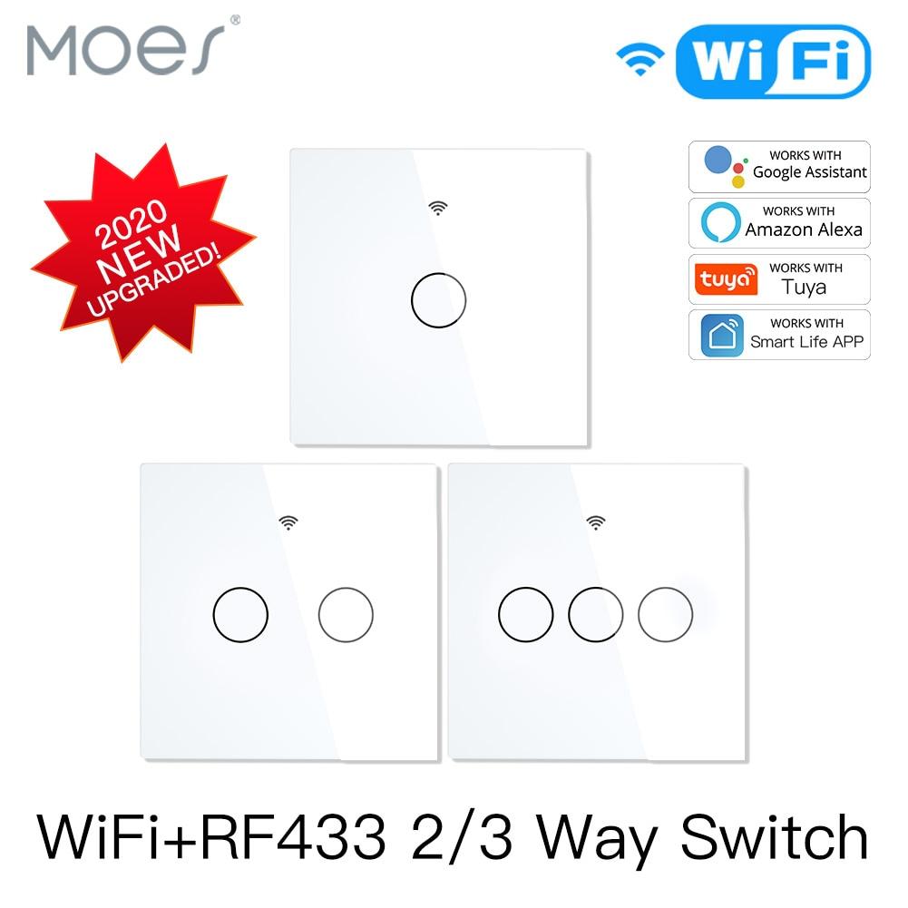 2020 novo wifi rf433 interruptor inteligente, interruptor de toque inteligente 2/3 way smart life/tuya app, controle, controle de voz alexa google home 1/2/3 gang eu