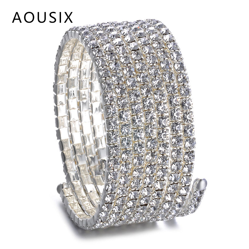 Fashion luxurious Crystal Open Bracelet Bangle Girl Women Silver Color Wedding Bracelets & Bangles Jewelry Pulseira Feminia Gift|Bangles| - AliExpress