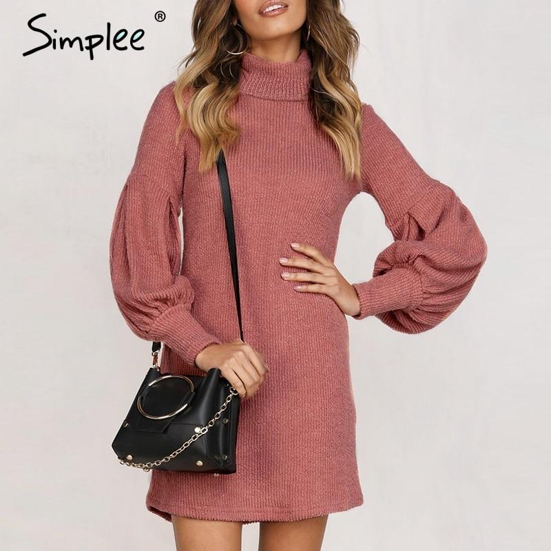 Simplee Turtleneck Lantern Sleeve Women Dress Elegant Female Winter Sweater Dress Casual Streetwear Solid Ladies Midi Dress 2019