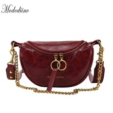 Mododiino Chains Shoulder Bag Designer Women Leather Chest Korean Crossbody Bags Lady Saddle Cell Phone DNV1210