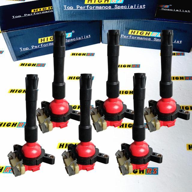 ชุด 6 IGNITION COIL ขดลวด PACK FIT BMW E46 E39 X5 E36 325 330 328 M3 Z3 2.5L 2.8L 2.3L 3.0L 3.2L L6 12131703228