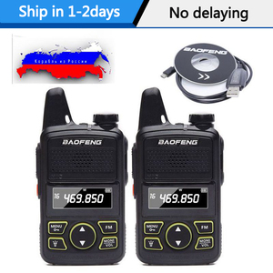 Image 1 - 2pcs Baofeng BF T1 Portable Earphone Ptt MINI Walkie Talkie Handheld bft1 Hotel Civilian Radio Comunicador Ham HF Transceiver
