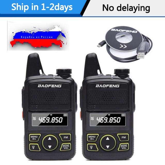 2pcs Baofeng BF T1 Portable Earphone Ptt MINI Walkie Talkie Handheld bft1 Hotel Civilian Radio Comunicador Ham HF Transceiver