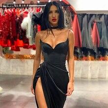 LVINMW сексуальное черное атласное длинное платье на тонких бретельках с низким вырезом, женское летнее платье макси с рюшами и разрезом по бо...
