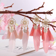 Dreamcatcher boho pena borla brincos moda jóias boucles d oreille femme 2020 balançar brincos para festa feminina