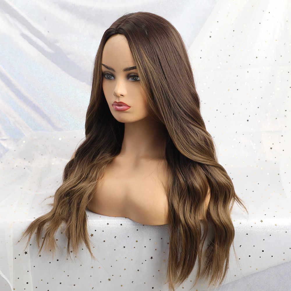 Easihair longo marrom ombre perucas sintéticas de alta densidade para as mulheres glueless ondulado cosplay perucas resistente ao calor peruca de cabelo falso