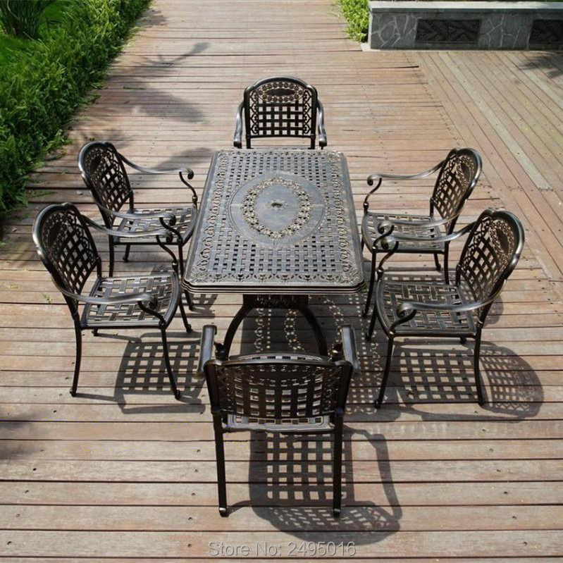 Set Of 7-piece Cast Aluminum Patio Furniture Dining Set Outdoor Furniture Table And Chairs Durable All-weather