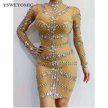 2020 new Multi-color Stones Nude Red Mesh Dress Evening Bar Birthday Celebrate Prom Dance Transparent Women Dancer Singer Dress