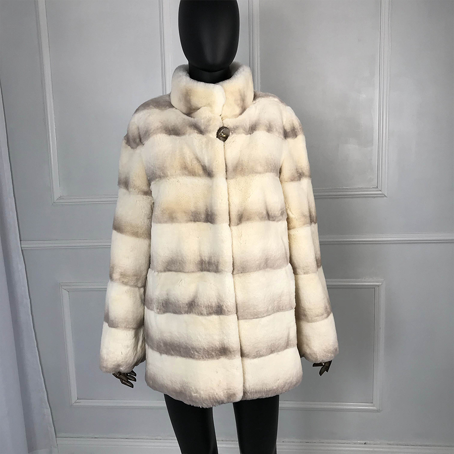 Rex Rabbit Coat With Standing Collar Middle-long Women Warm Natural   Full Sleeves 100% Genuine Rex Rabbit Fur New Color Winter
