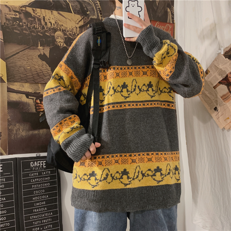 Winter Thick Sweater Men Warm Fashion Retro Casual O-neck Knitted Pullover Man Wild Loose Long-sleeved Sweater Male Clothes