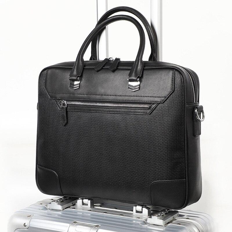 2019  Men's Briefcase 100% Natural Cowskin Men Briefcase Genuine Leather Laptop Bag Male Business Leather Handbag Men Bag Tote