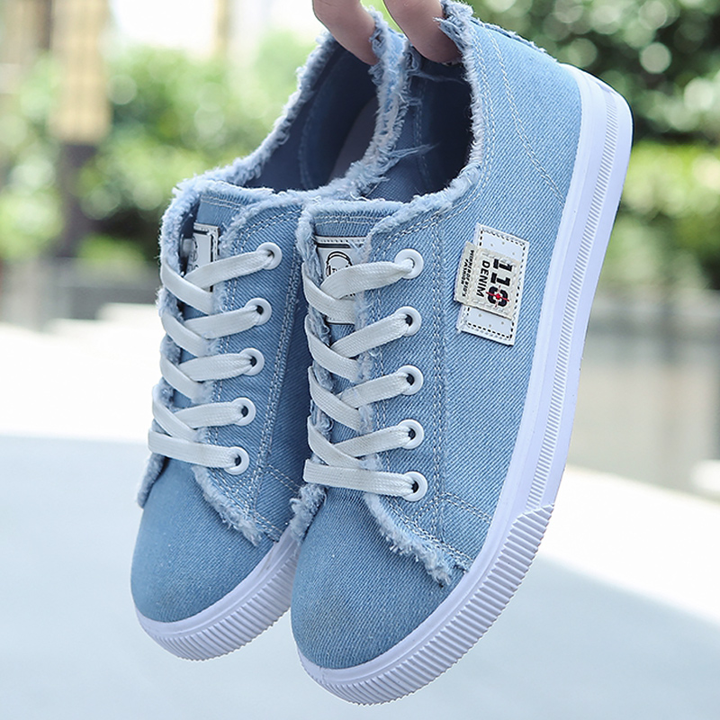 Women's Canvas Shoes Breathable Classic Summer Sneakers For Girls Lace-up Denim Shoes Casual Big Size 9-10 Tenis Feminino