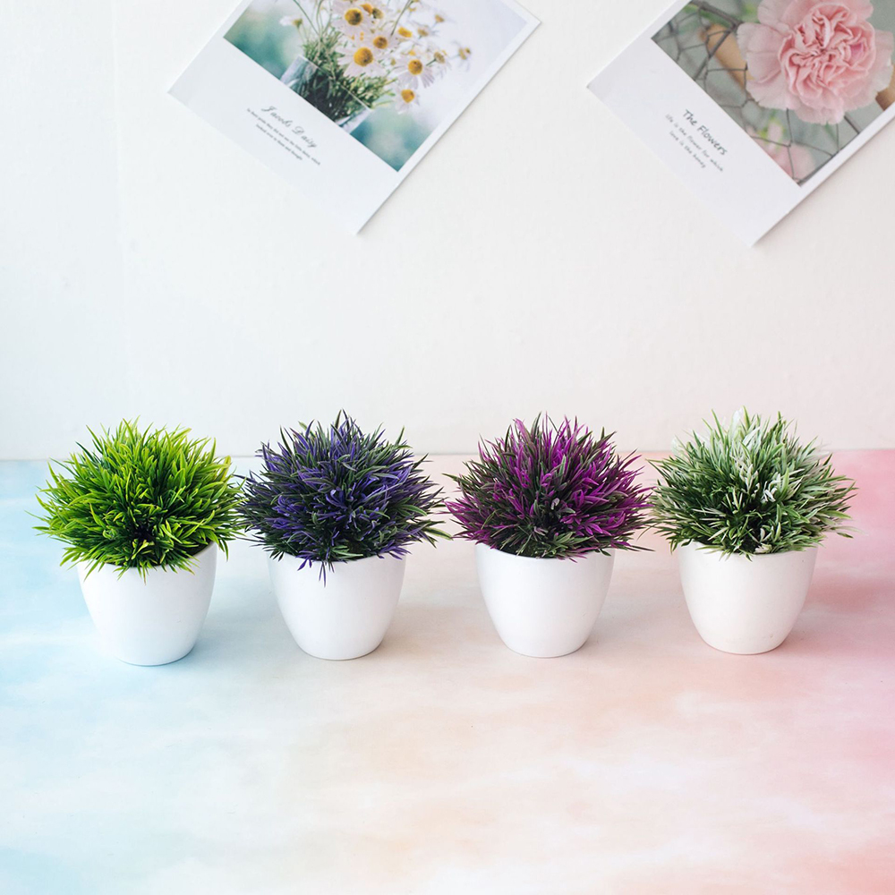 New Artificial Plant Potted Set 32-headed Phoenix Plant Simulation Flower Grass Ball Fake Flower Living Room Home Decoration