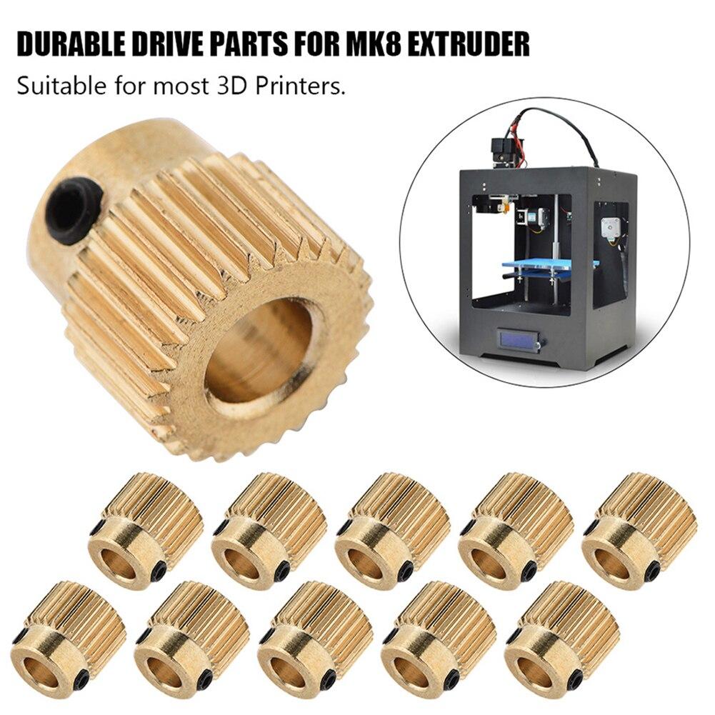 10 шт./лот 26-зубчатый латунный 5-мм отверстие MK7 MK8 экструдер приводной механизм для 3D-принтера