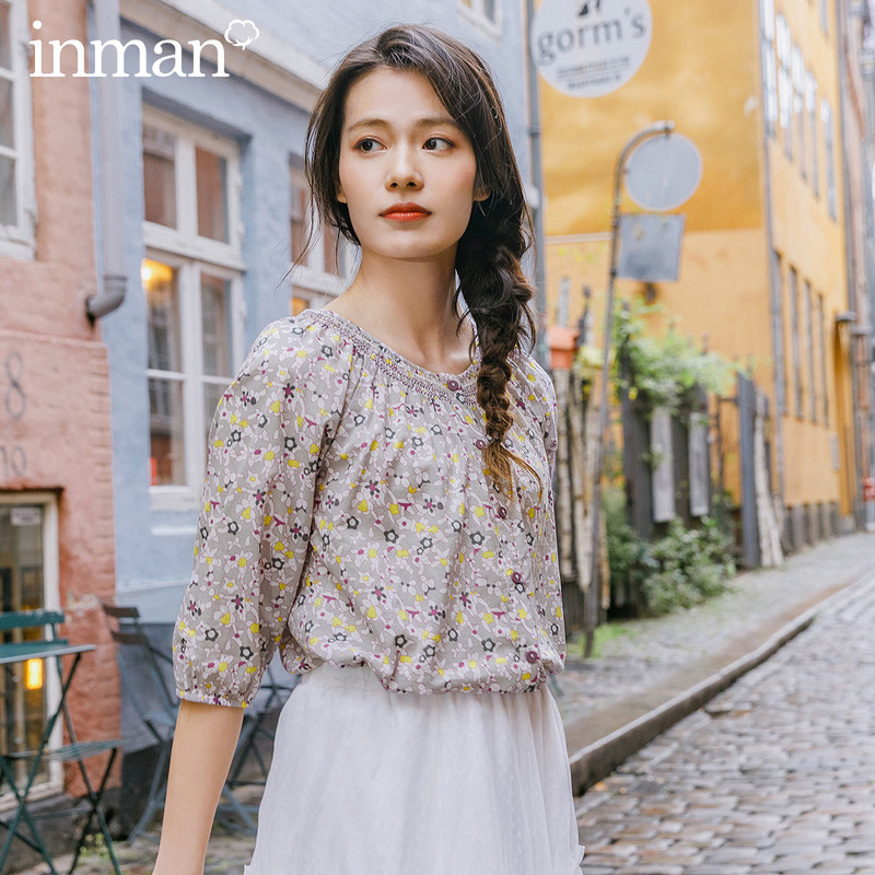 INMAN 2020 Spring New Arriavl Pure Cotton Round Collar Retro Shivering Literary Leisure Blouse