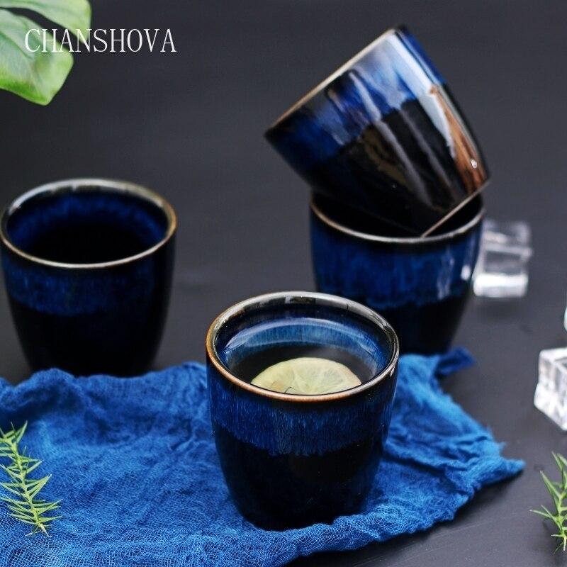 CHANSHOVA 150ml Chinese Retro Handmade Random Texture Color Glaze High Temperature Firing Ceramic Teacup Porcelain Tea Cups H316