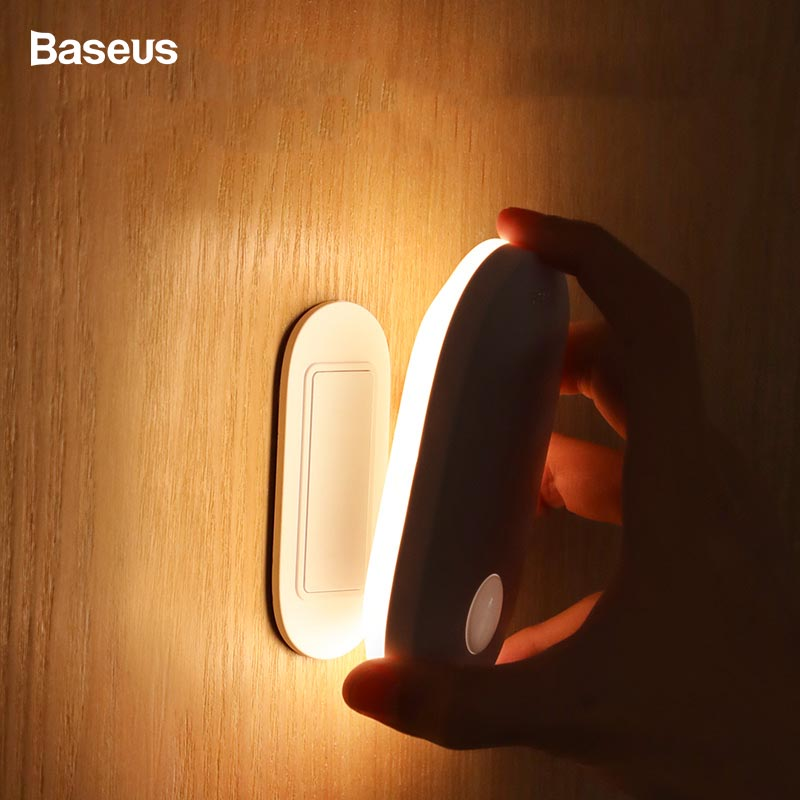 Baseus LED Night Light PIR Intelligent Motion Sensor Decorative Lamp For Office Home Bed Human Body Motion Induction Nightlight
