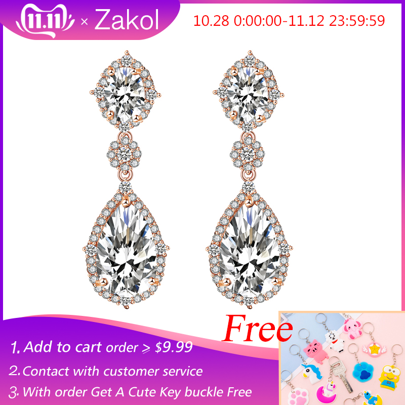ZAKOL  Elegant Water Drop Shaped Cubic Zirconia Earrings Crystal Long Wedding Jewerly For Brides FSEP2034