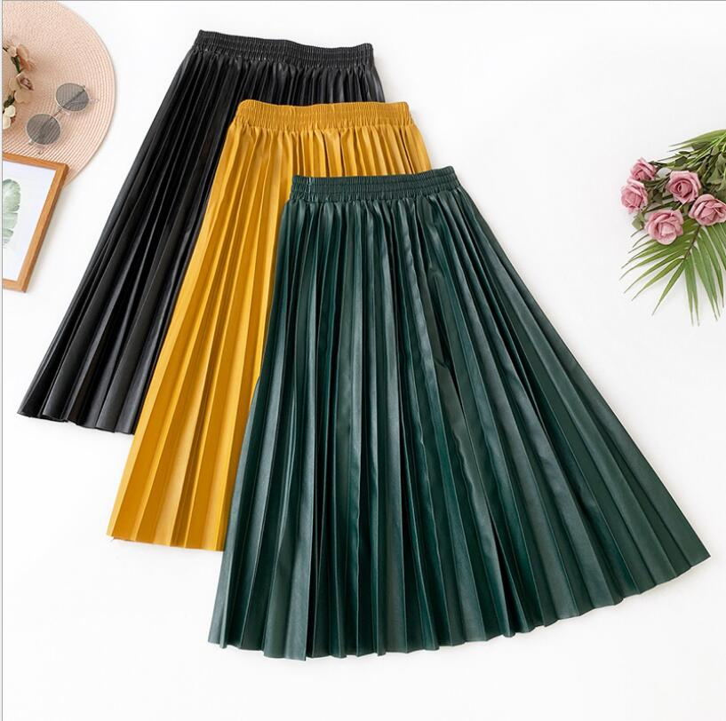 High Waist Pleated Pu Faux Leather Skirt Women Autumn Winter Elegant Midi Long Skirts Female Yellow Green Leather Skirt Qh2012